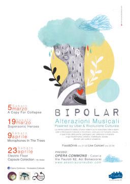 Programma Rassegna Bipolar – Alterazioni musicali – Powered by Uber & Rivoluzione Culturale – Illustrazione di Alice Caldarella